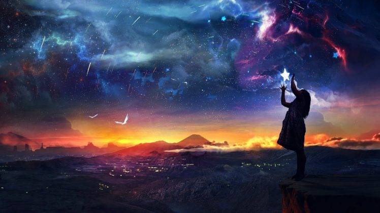 131689 artwork fantasy art digital art women sky stars city sunset life 748x421